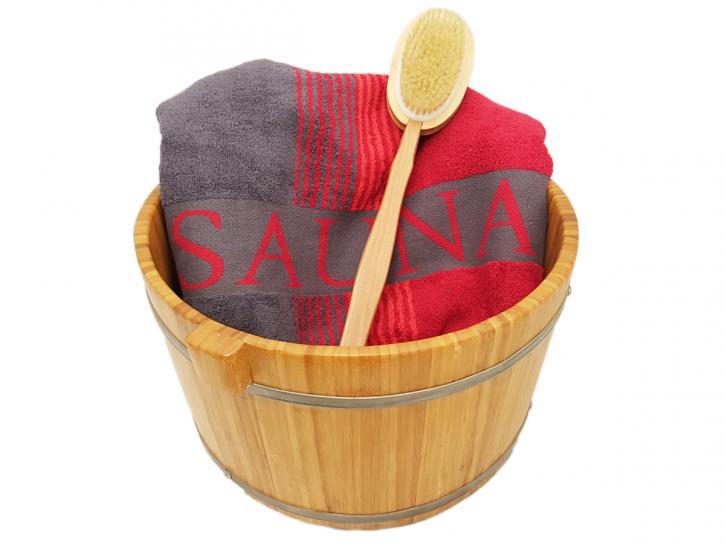 Luxus Bambus Fußwanne mit Handtuch Rot und Bürste