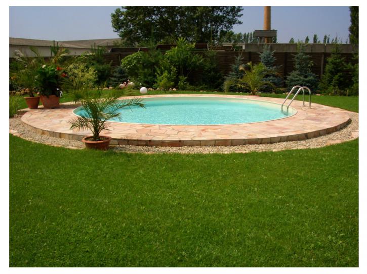 Pool Stahlwandbeckenset Höhe 0,90m - Rundbecken Sandfarben