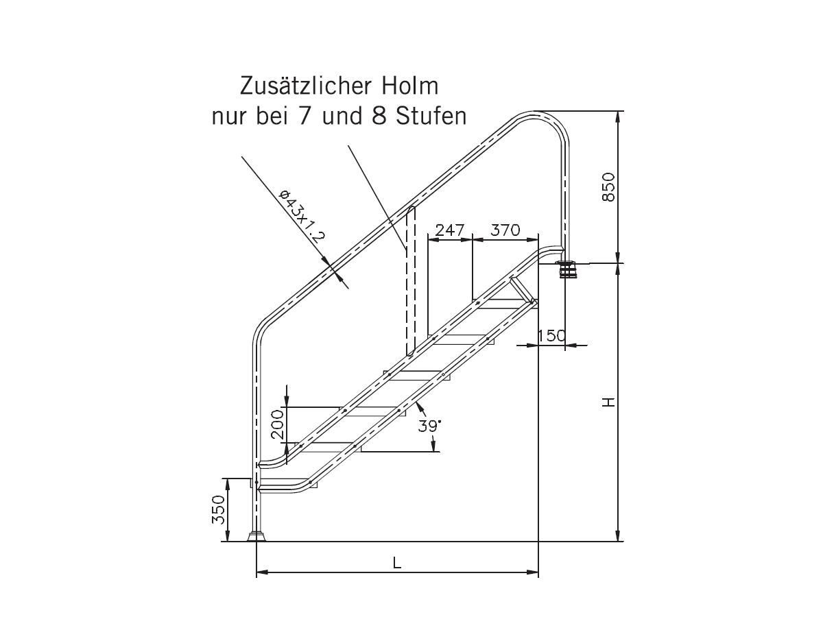 Treppenmaße edelstahl schwimmbadtreppe mit extrabreiten stufen 4 bis 8 stufig