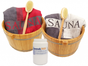 2 luxury bamboo foot wells with 2 Hantüchern 2 brushes 1kg Sauna salt