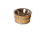 Olivenkübel aus Lärchenholz mit Edelstahleinsatz
