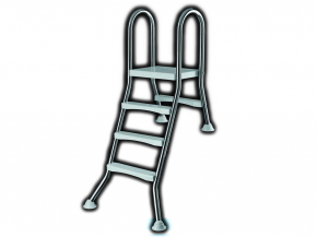 Stainless steel pool ladder for halv free-standing pools to 1,00m- High Beck Head