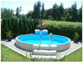 Pool steel wall pool set height 1.50m - circular tanks from Ø 3.00m Inner 0,8mm