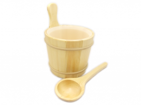 Wooden bucket and ladle mini