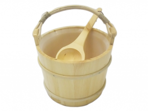 Wooden bucket and ladle bamboo handle