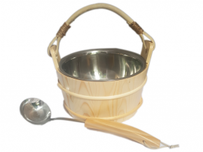 Wooden bucket with handle and stainless steel insert and stainless steel trowel