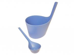 Rento Saunakübel und Kelle Ice Blue aus Biokomposit