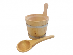 Wooden bucket and ladle mini with metal strips