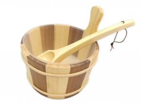 Wooden bucket and ladle striped