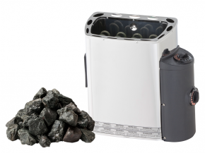 Saunaofen Mini Z mit seitlicher Steuerung Sawotec - 2,3kw / 3kw / 3,6kw + Steine