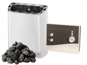 Komplett SET Saunaofen Mini Z Sawotec - 2,3kw / 3kw / 3,6kw + K1 Next Steuerung + Steine