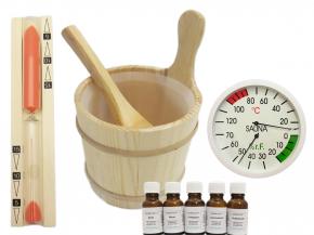 Sauna Accessories Set 10 pieces Mini - Wooden bucket hourglass infusion