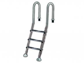 Exklusive Edelstahl Pooltreppe mit Komfort VA Doppeltrittstufe - 3 stufig