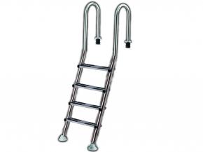 Exklusive Edelstahl Pooltreppe mit Komfort VA Doppeltrittstufe - 4 stufig