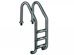Stainless steel pool ladder with a wide throat - deep pool ladder