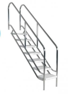 Edelstahl Schwimmbadtreppe mit extrabreiten Stufen - 4 bis 8 Stufig